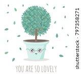 cute house plant in flower pot. ... | Shutterstock .eps vector #797358271