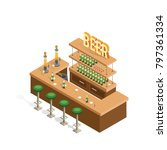 isometric interior of beer bars ... | Shutterstock .eps vector #797361334