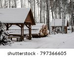 a pile of wood covered with... | Shutterstock . vector #797366605