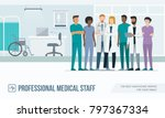 medical staff standing together ... | Shutterstock .eps vector #797367334