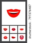 icon flat mouth set of laugh ... | Shutterstock .eps vector #797376487