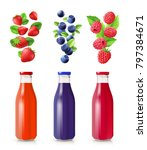 berry juice realistic set with... | Shutterstock . vector #797384671