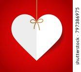 white paper heart on red... | Shutterstock .eps vector #797386975