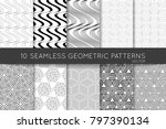 collection of black and white... | Shutterstock .eps vector #797390134
