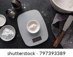 measuring xanthan gum | Shutterstock . vector #797393389