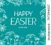 banner with happy easter... | Shutterstock .eps vector #797394037