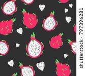 dragon fruit seamless pattern  | Shutterstock .eps vector #797396281
