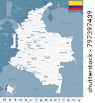 colombia map and flag   high... | Shutterstock .eps vector #797397439
