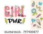 girl power lettering with girly ...   Shutterstock .eps vector #797400877