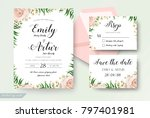 wedding floral watercolor style ... | Shutterstock .eps vector #797401981