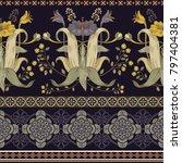 vintage vector floral border.... | Shutterstock .eps vector #797404381