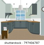 kitchen interior background... | Shutterstock .eps vector #797406787