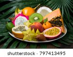exotic tropical fruits dish on... | Shutterstock . vector #797413495