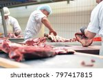 Group Of Butchers Works In A...