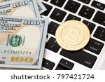 gold coin of bitcoin on the... | Shutterstock . vector #797421724