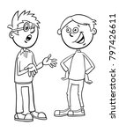 black and white cartoon... | Shutterstock .eps vector #797426611