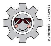 gear with sunglasses kawaii... | Shutterstock .eps vector #797429581