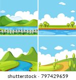four background scenes with... | Shutterstock .eps vector #797429659