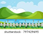 nature scene with river and... | Shutterstock .eps vector #797429695