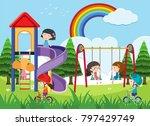 happy children playing in... | Shutterstock .eps vector #797429749