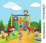 scene with many kids in... | Shutterstock .eps vector #797429827