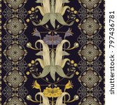 vertical floral pattern ... | Shutterstock .eps vector #797436781