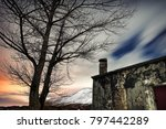 night winter landscape  old... | Shutterstock . vector #797442289