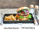 delicious cheeseburger ... | Shutterstock . vector #797447821