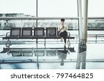 pensive cute brazilian girl... | Shutterstock . vector #797464825
