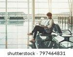 young pensive brazilian tourist ... | Shutterstock . vector #797464831