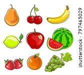 hand drawn icon fruits... | Shutterstock .eps vector #797465029