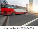 motion blurred car go through...   Shutterstock . vector #797466619