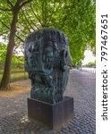Small photo of Bonn German Europe 2017 June 10 sculpture Adenauer memorial near Palais schaumburg on walk path