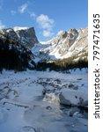 winter at frozen emerald lake   ... | Shutterstock . vector #797471635