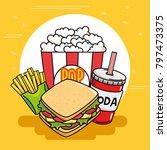 fast food stickers pop art | Shutterstock .eps vector #797473375