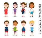 group of happy kids characters | Shutterstock .eps vector #797473381