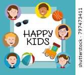 group of happy kids characters | Shutterstock .eps vector #797473411