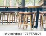 the chair and wooden table in... | Shutterstock . vector #797473807