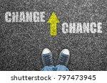 sneakers on grunge concrete... | Shutterstock . vector #797473945