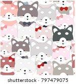 cute seamless pattern cartoon... | Shutterstock .eps vector #797479075