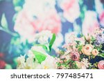 flowers on wooden background  | Shutterstock . vector #797485471