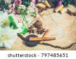 flowers on wooden background... | Shutterstock . vector #797485651