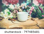 flowers on wooden background... | Shutterstock . vector #797485681