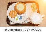 delicious cream of broccoli... | Shutterstock . vector #797497309