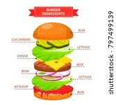 burger ingredients set.... | Shutterstock .eps vector #797499139