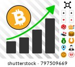 bitcoin grow up chart icon with ...