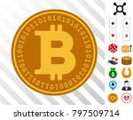 bitcoin digital coin icon with...