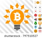 bitcoin bulb rays icon with...