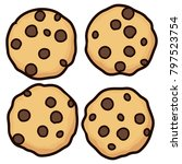 vector set of chocolate chip... | Shutterstock .eps vector #797523754