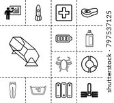 Art icons. set of 13 editable outline art icons such as teacher, plus, pie chart, rocket, baterry, meat, battery, beetle, lottery, laundry, woman pants, spray paint